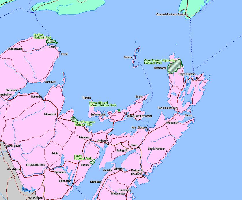Location Map of Cape Breton National Park, Nova Scotia, Canada