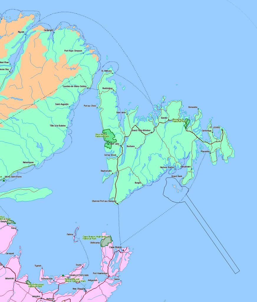 Location Map of Gros Morne National Park, Newfoundland, Canada
