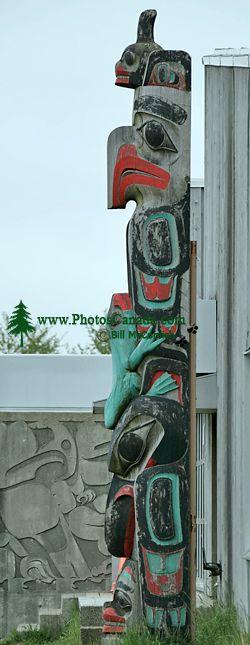 Haida Totem Pole Photos, Old Massett, Chief Matthews School, Skidegate, Queen Charlotte Islands, Haida Gwaii, British Columbia, Canada CM11-03