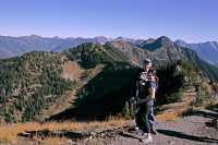 Idaho Peak, 3 Generation of Hikers, Ridge Trail, Kootenays, British Columbia, Canada CM11-018  IMAGE NOT FOR SALE
