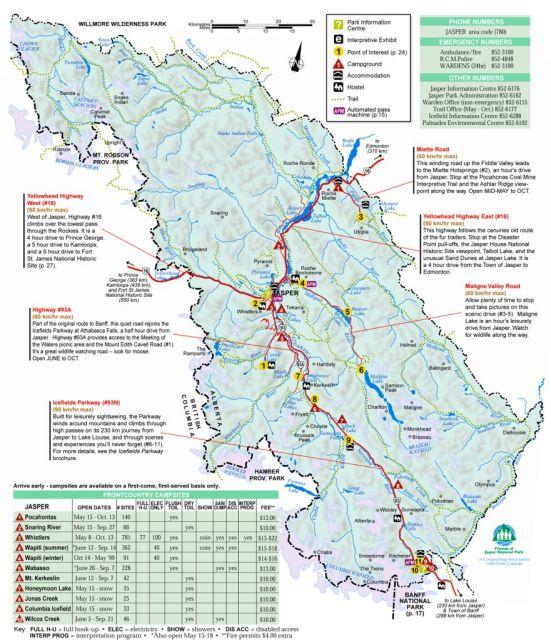 Map of Jasper National Park, Alberta, Canada