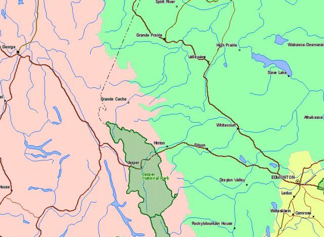 Map of Jasper National Park Canada Location