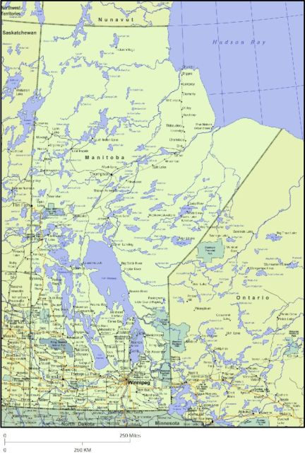 Map of Manitoba, Canada