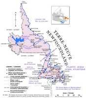 Map of Newfoundland and Labrador, Canada