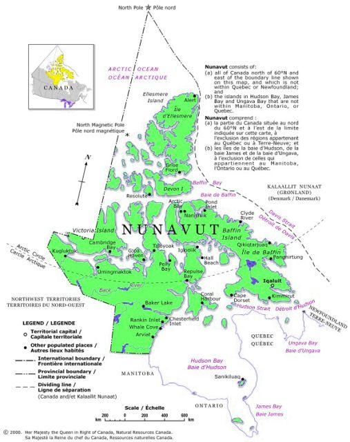 map of nunavut territory canada