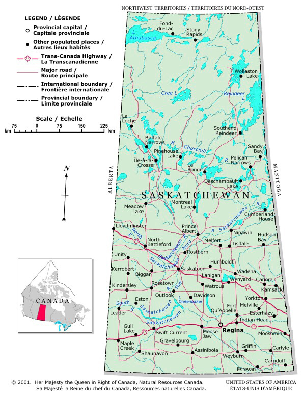 Map of Saskatchewan, Canada
