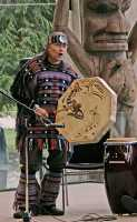 Museum of Anthropology, Great Hall, First Nations Drummer, UBC, British Columbia, Canada CM11-03