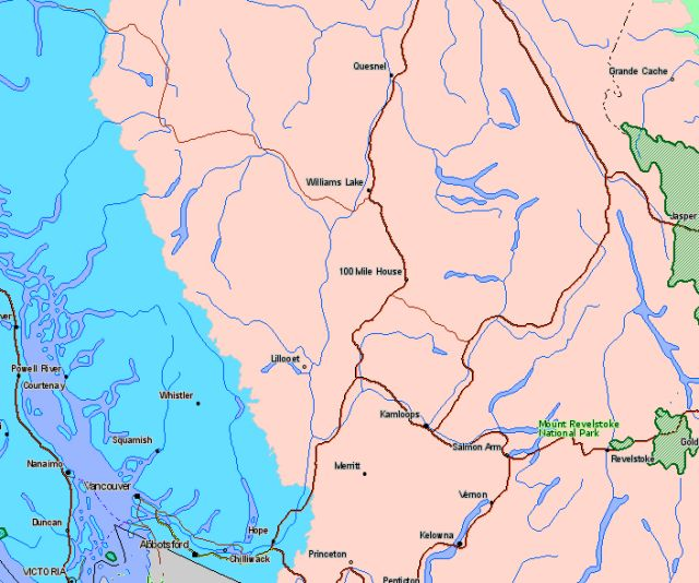 Map of Mount Revelstoke National Park Canada Location