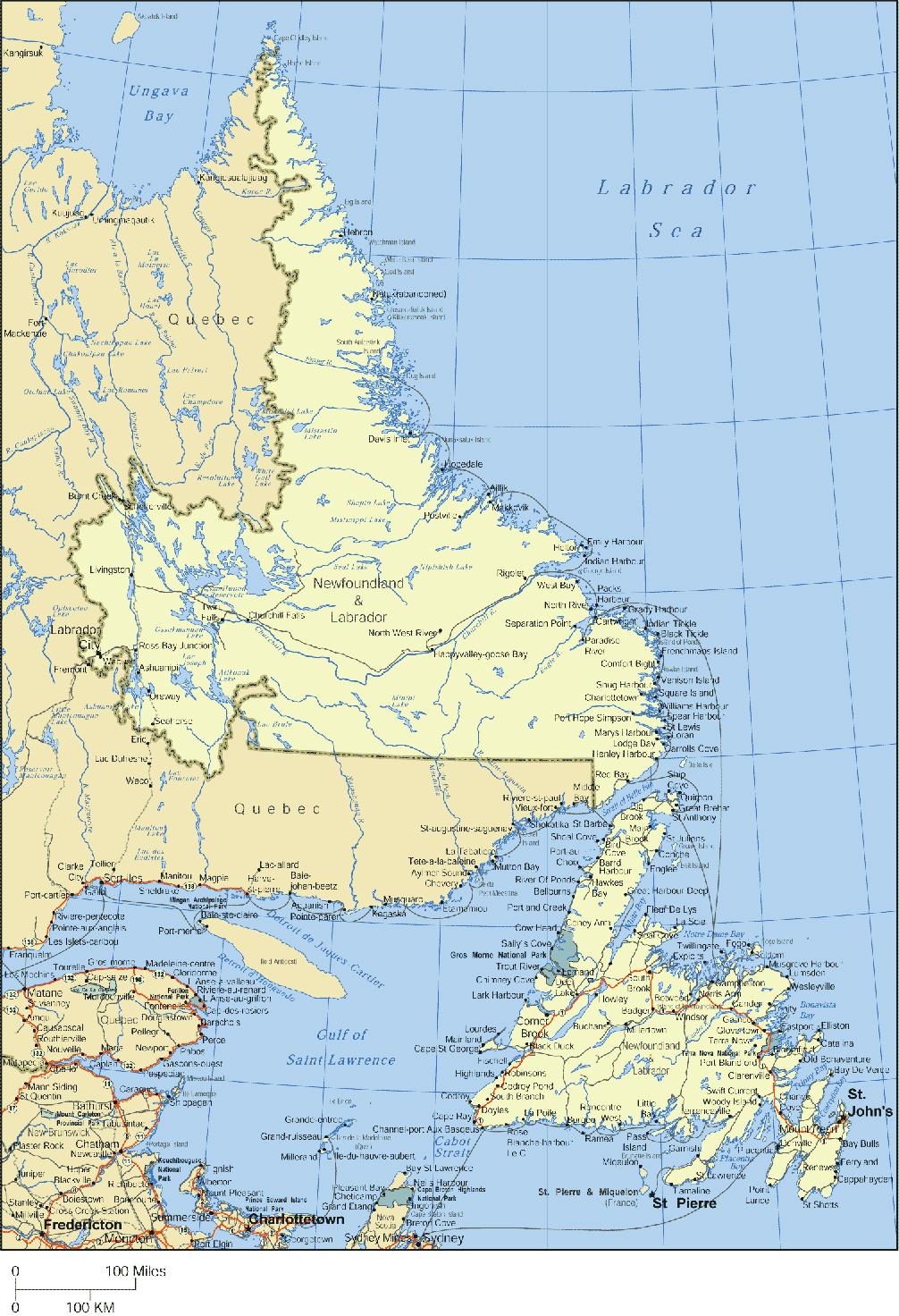 Map of Newfoundland and :abrador, Canada