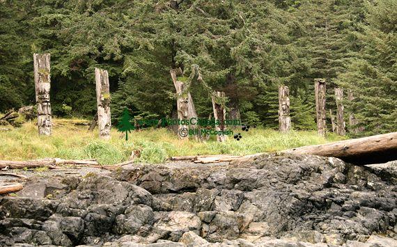 Ninstints Haida Village Remains, Anthony Island, Sgang Gwaay, UNESCO World Heritage Site, Gwaii Haanas National Park Reserve, Haida Gwaii, British Columbia, Canada CM11-04