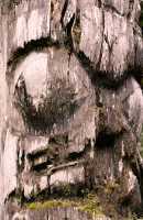 Ninstints Totem Pole, Sgang Gwaay, UNESCO World Heritage Site, Gwaii Haanas National Park Reserve, Haida Gwaii, British Columbia, Canada CM11-15