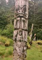 Ninstints Totem Pole, Sgang Gwaay, UNESCO World Heritage Site, Gwaii Haanas National Park Reserve, Haida Gwaii, British Columbia, Canada CM11-17