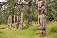 Ninstints Totem Poles, Anthony Island, Sgang Gwaay, UNESCO World Heritage Site, Gwaii Haanas National Park Reserve,  Haida Gwaii, British Columbia, Canada CM11-06