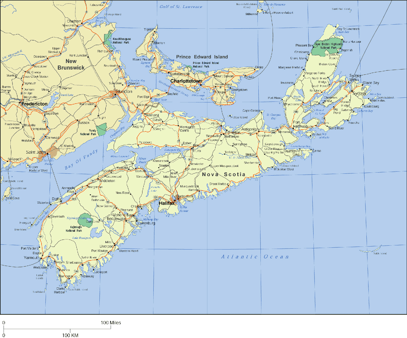 large detailed map of nova scotia with cities and towns