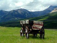 Old Farm Wagon, Pincher Creek, Alberta, Canada 01