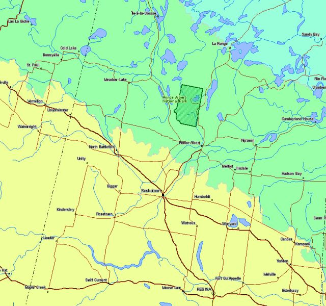 Map of Prince Albert National Park Canada Location