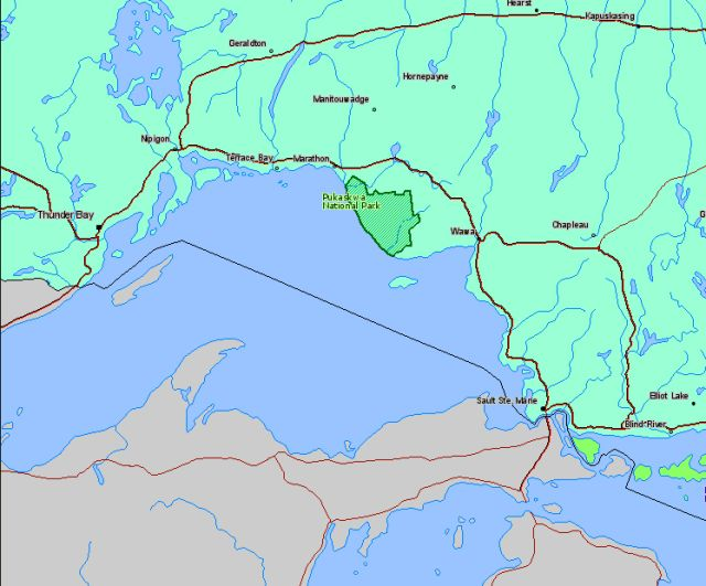Map of Pukaskwa National Park Canada Location