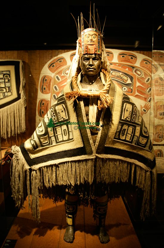 Royal BC Museum Photos, Warrior wearing Chilkat Blanket, Victoria, British Columbia, Canada CM11-18