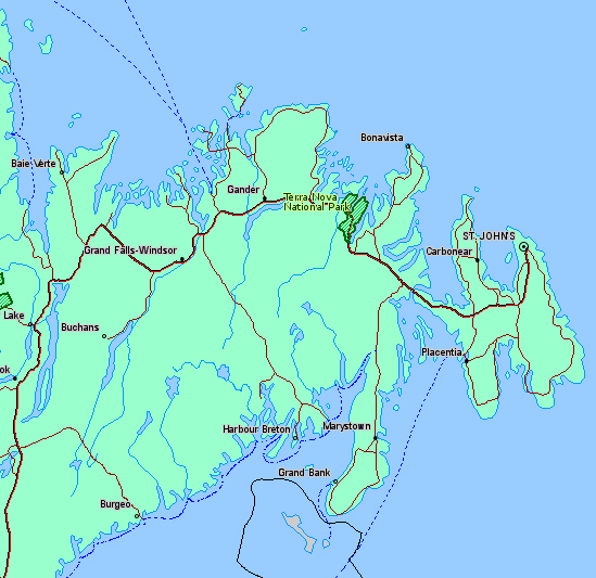 Location Map of Terra Nova National Park, Newfoundland, Canada