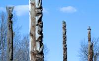 Highlight for Album: The Hazeltons Photos 2009, Kitwanga Totems, British Columbia, Native Canada Stock Photos