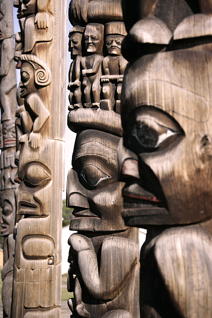 Gitanyow (Kitwanyou) Totem Poles, Nass Valley, Northern British Columbia, Canada CM11-06