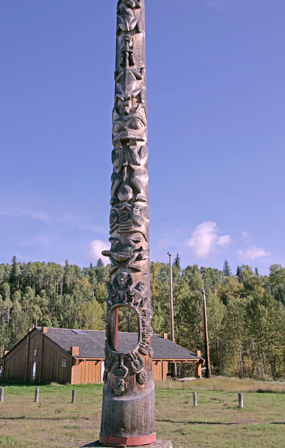 "Gitanyow (Kitwanyou)"" Hole in the Ice"" Totem Pole, Nass Valley, Northern British Columbia, Canada CM11-07"