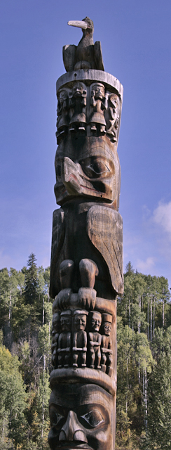 Gitanyow (Kitwanyou)Totem Poles, Nass Valley, Northern British Columbia, Canada CM11-09