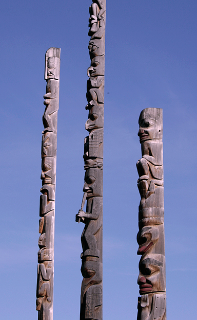 Gitanyow (Kitwanyou) Totem Poles, Nass Valley, Northern British Columbia, Canada CM11-10