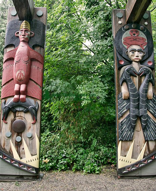Susan Point Totems, UBC Museum of Anthropology, British Columbia, Canada CM11-11  (Photo Not For Sale)