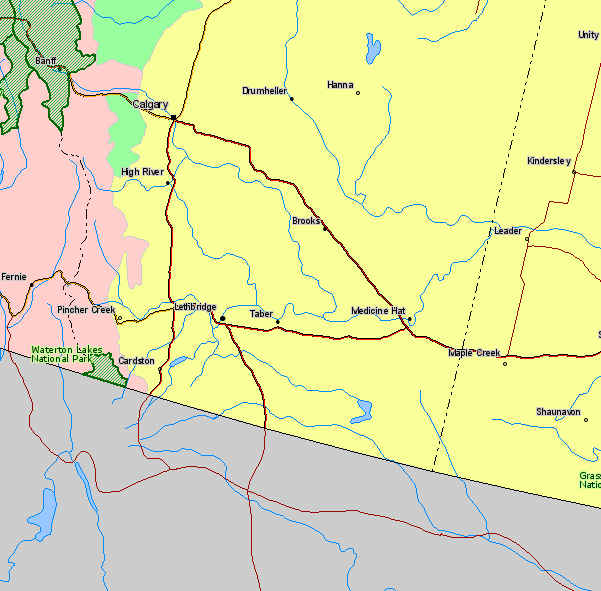 Map of Waterton Lakes National Park Canada Location