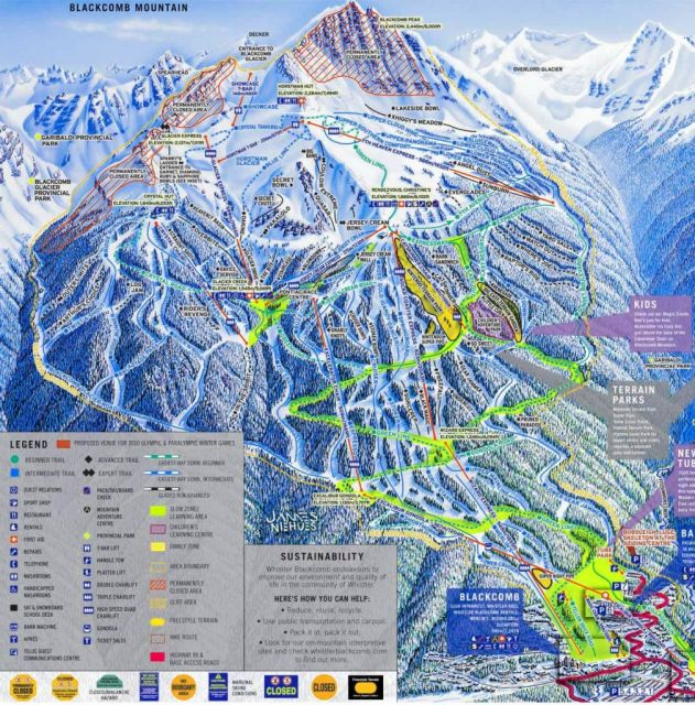 Trail Map of Blackcomb Mountain, Whistler, British Columbia, Canada