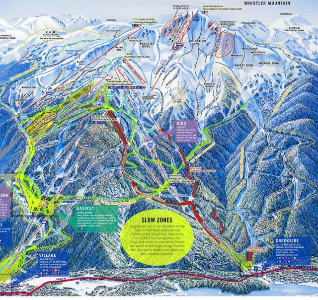 Trail Map of Whistler Mountain, Whistler, British Columbia, Canada