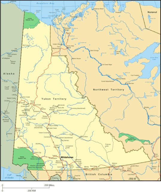 Map of Yukon, Canada